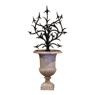 19th Century French Painted Iron Urn With Forged Art Bush Decor For Sale