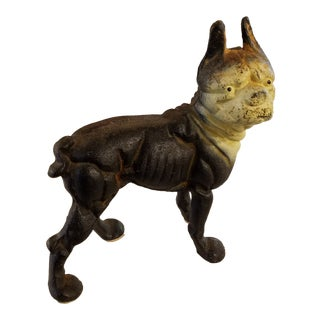Early 20th Century Iron Boston Terrier Doorstop For Sale