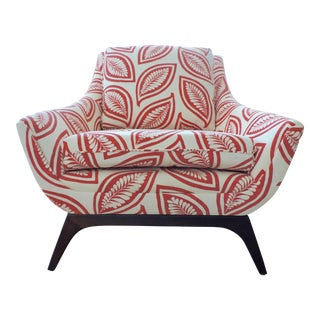1960s Mid-Century Modern Red and White Leaf Print Club Chair For Sale