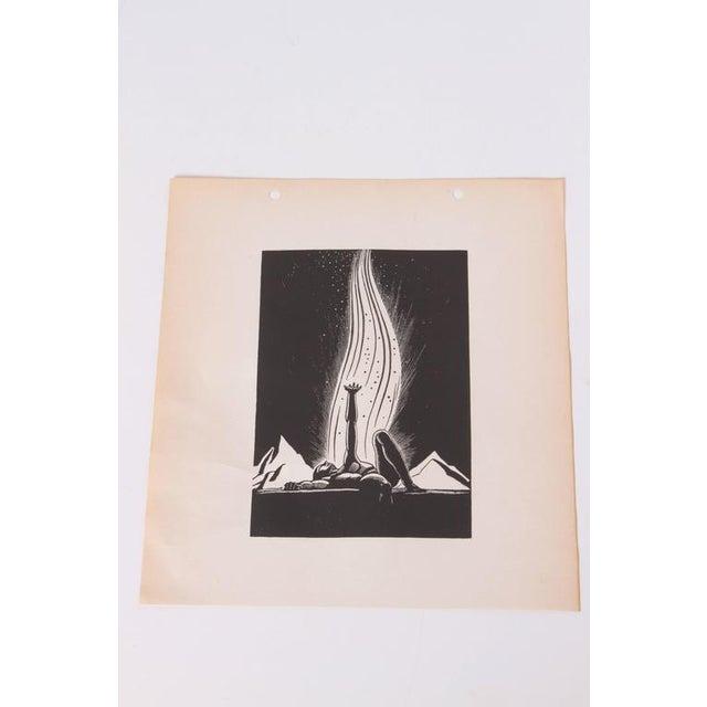 "Art Deco Art Deco 1939 Rockwell Kent ""Flame"" Original Block Print Calendar For Sale - Image 3 of 11"