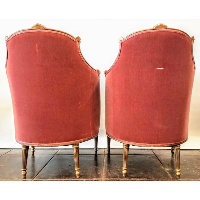 Pink Louis XV Style Pink Mohair Velvet Upholstery Bergere Chairs- A Pair For Sale - Image 8 of 9