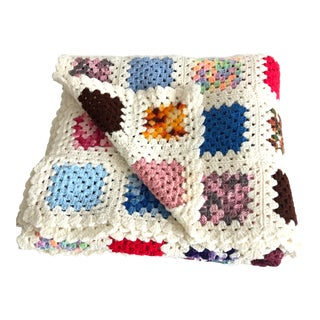 Vintage Boho Handmade Crocheted Double or Queen Afghan For Sale