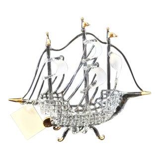 Murano Glass Ship by Raffaele For Sale