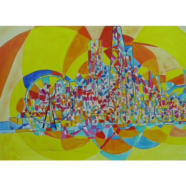 2010s 2013 Pia Bacca Post Impressionist Oil on Canvas of Chicago Cityscape For Sale - Image 5 of 9