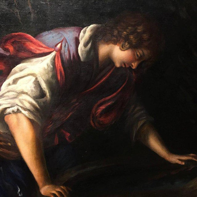"""Neoclassical 1876 Painting by Bianchini, after Francesco Curradi, """"Narcissus at the Fountain"""" For Sale - Image 3 of 9"""