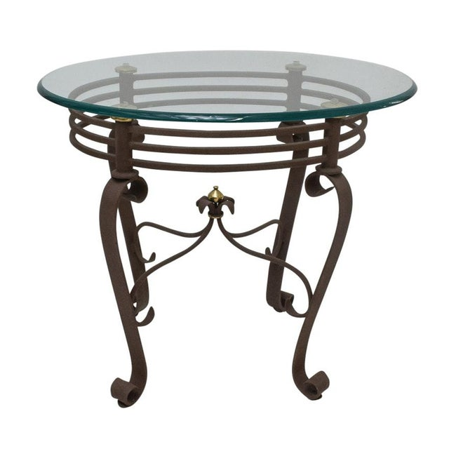 Brass 2000s Art-Deco Fer Forge Rusted Iron Finishing and Brass Finial Accent Table For Sale - Image 7 of 7