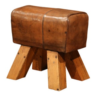 Early 20th Century Czech Pommel Horse Bench with Brown Leather from Prague