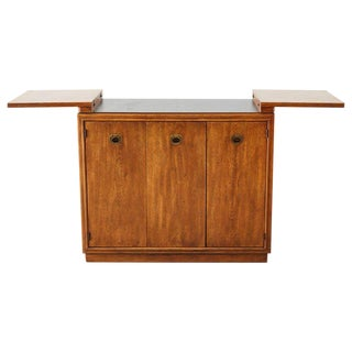 Drexel Midcentury Campaign Style Dry Bar Cart Server For Sale