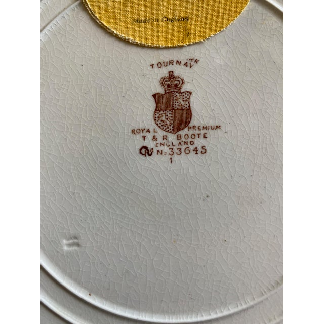 """Ivory 1800s T. & R. Boote England Brown Ironstone Transferware """"Tournay"""" Plates, Set of 4 For Sale - Image 8 of 10"""