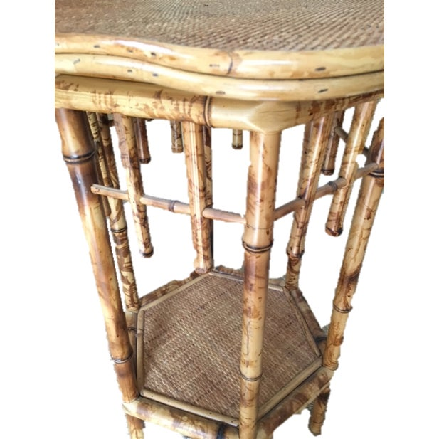 Scalloped Bamboo Side Table - Image 3 of 4