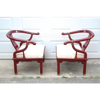 1950s Vintage Hickory Red Lacquer Ming Chairs - a Pair Preview