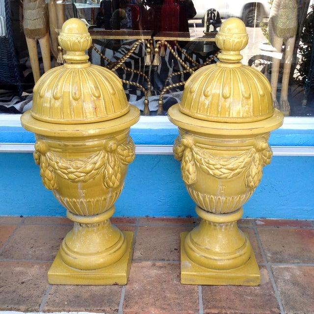 Pair of Massive Glazed Terracotta Garden Urns For Sale - Image 13 of 13