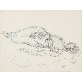 Jennings Tofel Reclining Female Figure in Ink, Early 20th Century For Sale