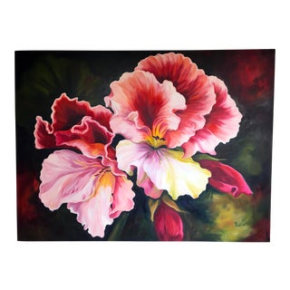 Large Original Oil Painting of Flower Signed Gimlin For Sale