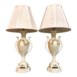 Vintage Porcelain Urn Style Lamps-a Pair For Sale