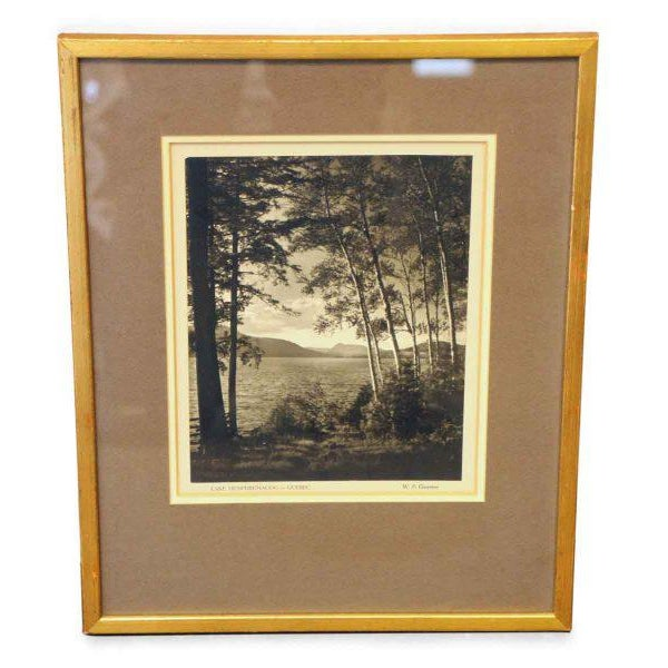 Matted and framed photograph of Lake Memphremagog, Quebec, by W. P. Grayston.