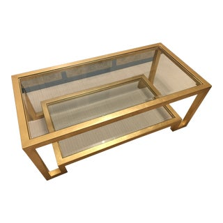 Worlds Away Winston Gold Coffee Table For Sale