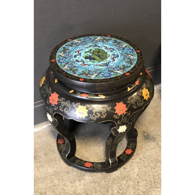Exquisite pair of Chinese black lacquered tables, early 20th century. Vibrant colors, excellent condition, with cloisonné...