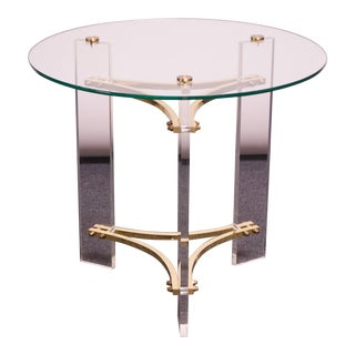 Charles Hollis Jones Brass and Lucite Accent Table With Glass Top For Sale