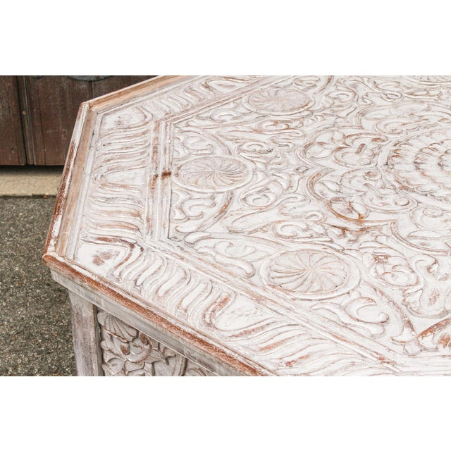 Grand White-Washed Moorish Carved Octagonal Coffee Table For Sale In Los Angeles - Image 6 of 9