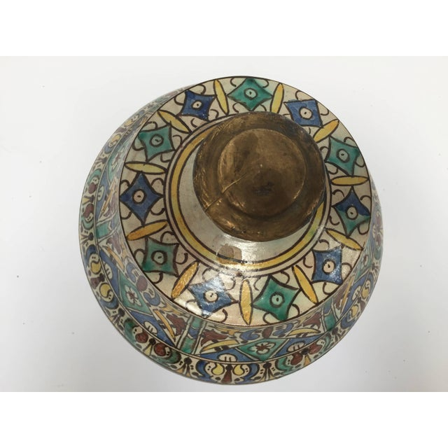Moroccan Ceramic Glazed Storage Tureen Jar with Cover Handcrafted in Fez, Morocco For Sale In Los Angeles - Image 6 of 7