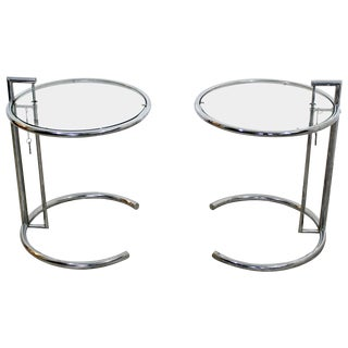 1970s Mid-Century Modern Eileen Gray Chrome and Glass Round Side Tables - a Pair For Sale