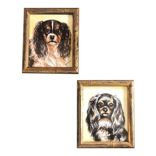 Gallery Wall Collection- 2 Original Contemporary King Charles Spaniels Watercolor Paintings Faux Bamboo Vintage Frames - a Pair For Sale
