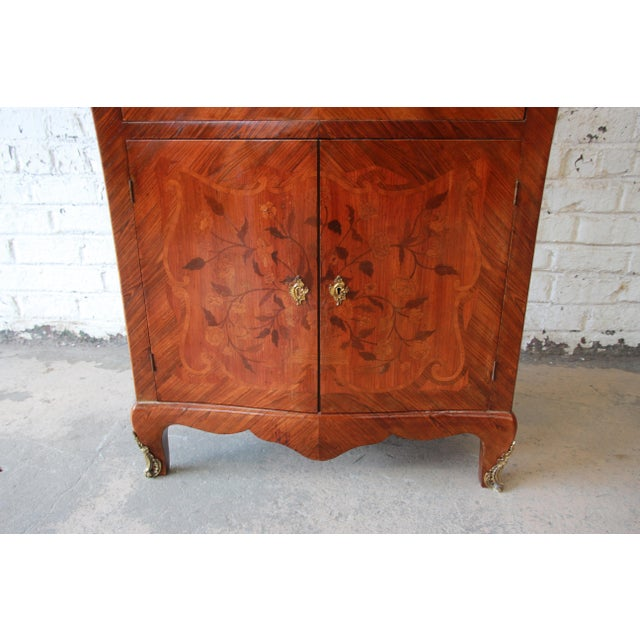 19th Century French Inlaid Marquetry Marble Top Abattant Secretaire For Sale - Image 10 of 13