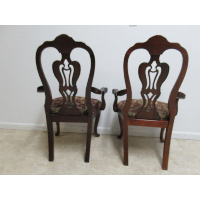 Red Thomasville Solid Mahogany Chippendale Arm Chairs - A Pair For Sale - Image 8 of 10