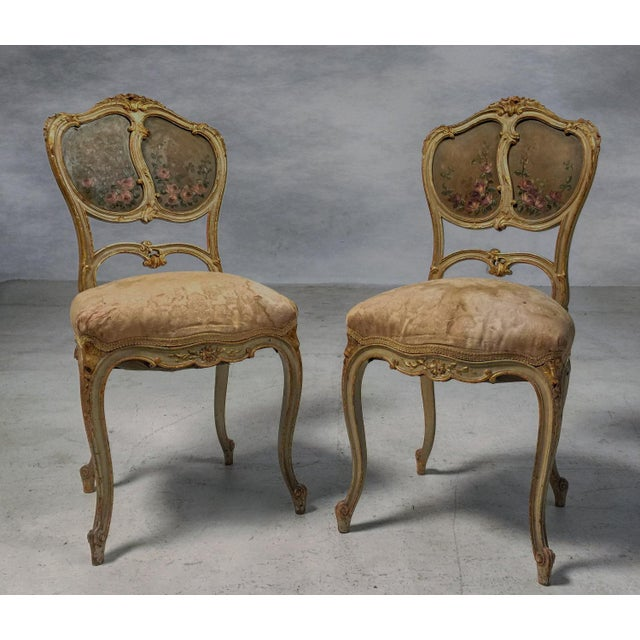 French Gilt & Painted Boudoir Chairs - A Pair For Sale - Image 11 of 11