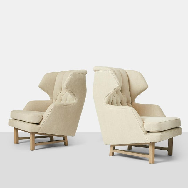 "Pair of ""Janus"" wing chairs by Edward Wormley for Dunbar. A pair of wing chairs by Edward Wormley restored in a luxurious..."