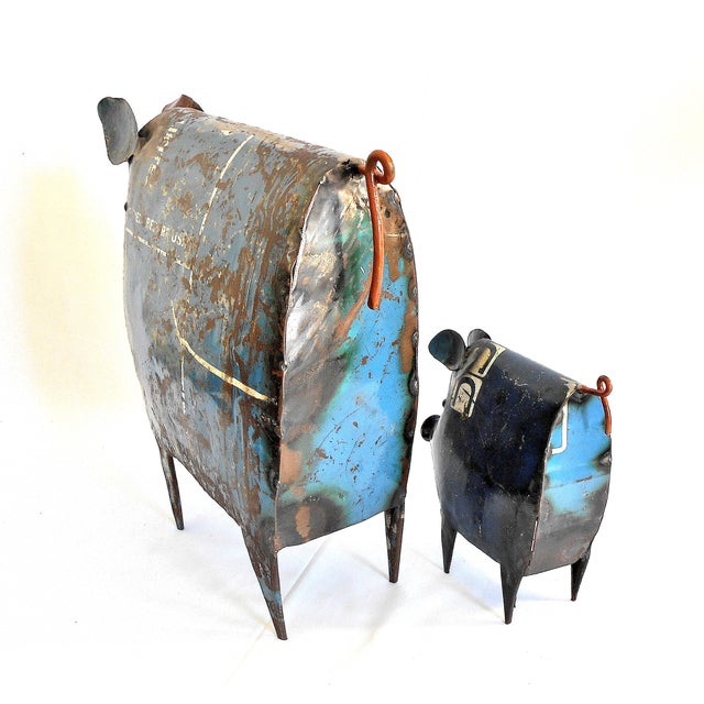 2010s Recycled Metal Pig Sculptures - A Pair For Sale - Image 5 of 8