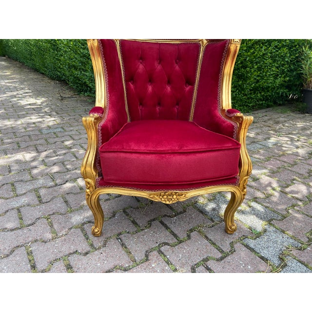 Wood French Dark Red Tufted Throne Children Size Balloon Chair. For Sale - Image 7 of 10