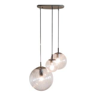 RAAK Three Globe Bubble Glass Chandelier For Sale