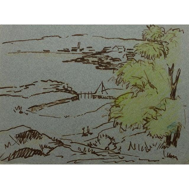 1950s Coastal Landscape Drawing by Henry Gasser For Sale