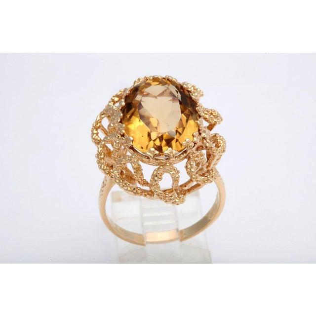 Brutalist 60's Brutalist Citrine Melted Gold Swirls Cocktail Ring For Sale - Image 3 of 7