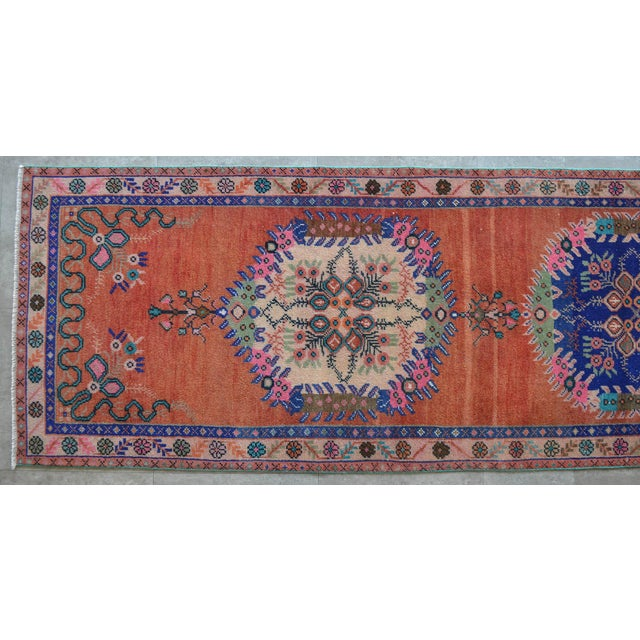 """Cotton Oushak Runner Rug Turkish Hand Knotted Distressed Hallway Rug - 3'1"""" X 12'7"""" For Sale - Image 7 of 9"""