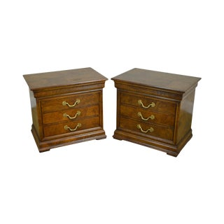 Henredon Charles X Collection Pair of Burl Wood Chest Nightstands For Sale