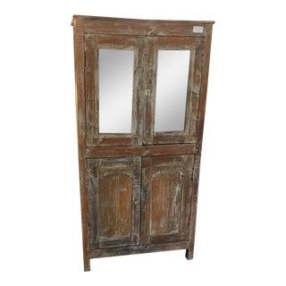 Primitive White Washed Teak Wood Cabinet For Sale