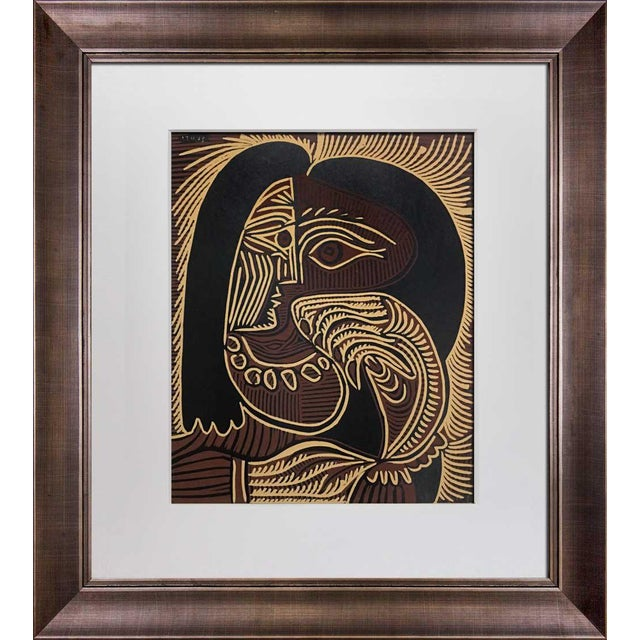 """Abstract 1960s Vintage Pablo Picasso """"Femme Au Collier"""" Linocut Limited Edition Print For Sale - Image 3 of 3"""