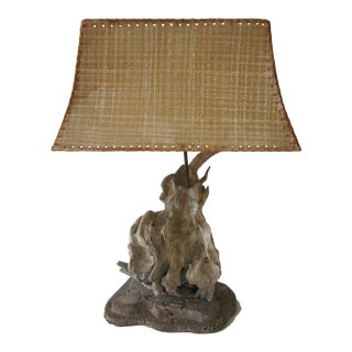 1960s Vintage Driftwood Lamp and Shade For Sale