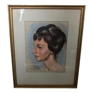 1960 John Squire Adams Oil Pastel Portrait For Sale