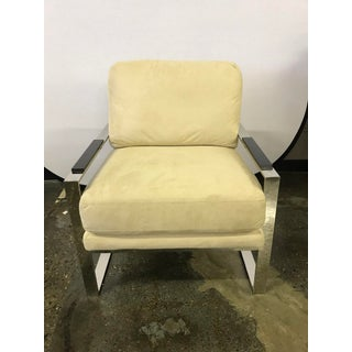 Milo Baughman Style Cream Suede and Chrome Cantilever Chair Preview