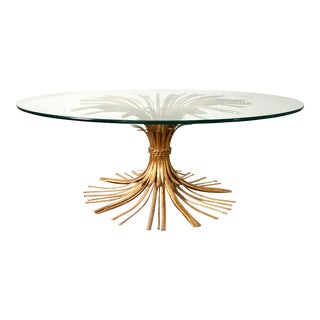 1950s Art Deco Gilded Sheaf of Wheat Round Glass Top Coffee Table