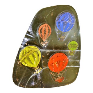 "1960s ""Hot Air Balloons"" Fused Glass Vessel Ashtray by Frances and Michael Higgins For Sale"