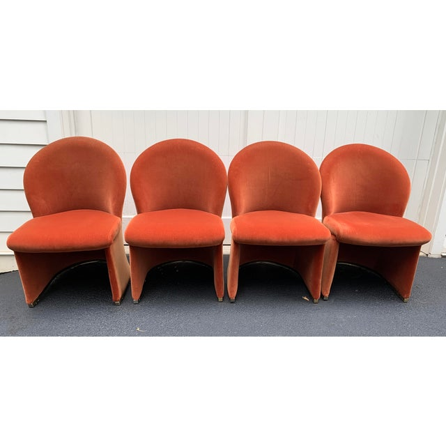 1980s 1980's Velvet Chairs With Brass Base - Set of 4 For Sale - Image 5 of 13