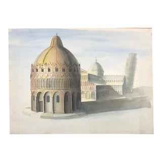 Original Mid Century Modern Watercolor by Claus Otto Huckenbeck For Sale