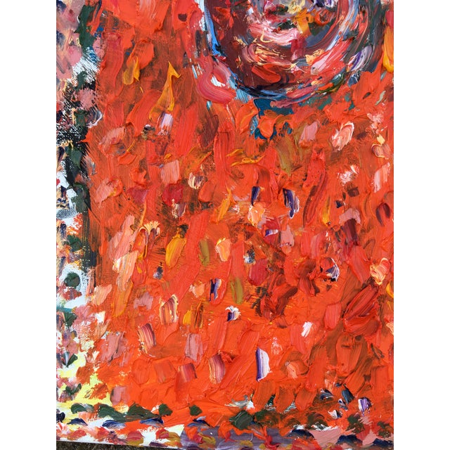 Abstract Abstract 'Orange Gong' Oil Painting by Sean Kratzert For Sale - Image 3 of 4