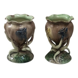 Majolica Palissy Vases With Butterflies Thomas Sergent, Circa 1880 - a Pair For Sale