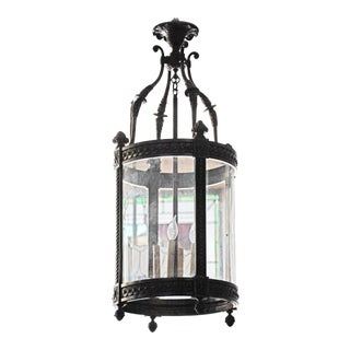 1920s Vintage Bronze Cylindrical Lantern For Sale